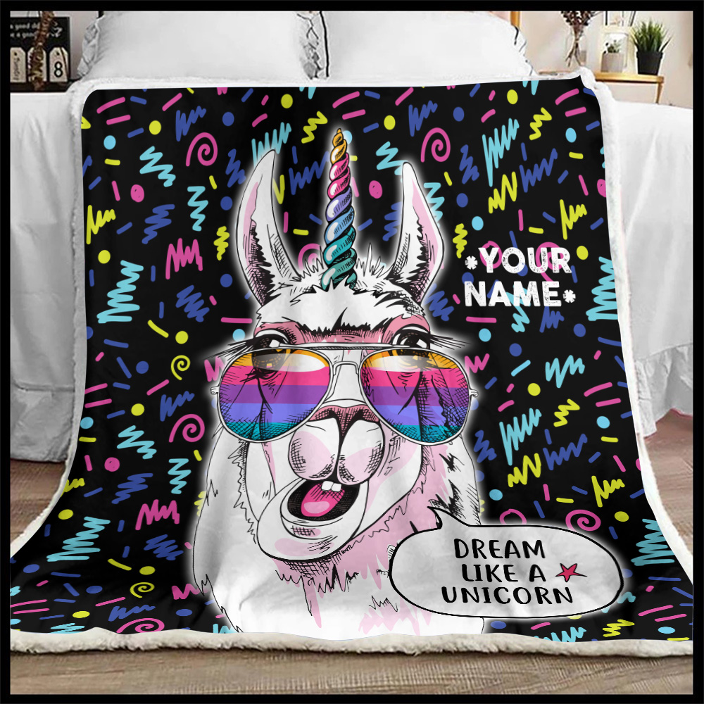 Personalized Fleece Throw Blanket Dream Like A Unicorn Pattern 2 Lightweight Super Soft Cozy For Decorative Couch Sofa Bed