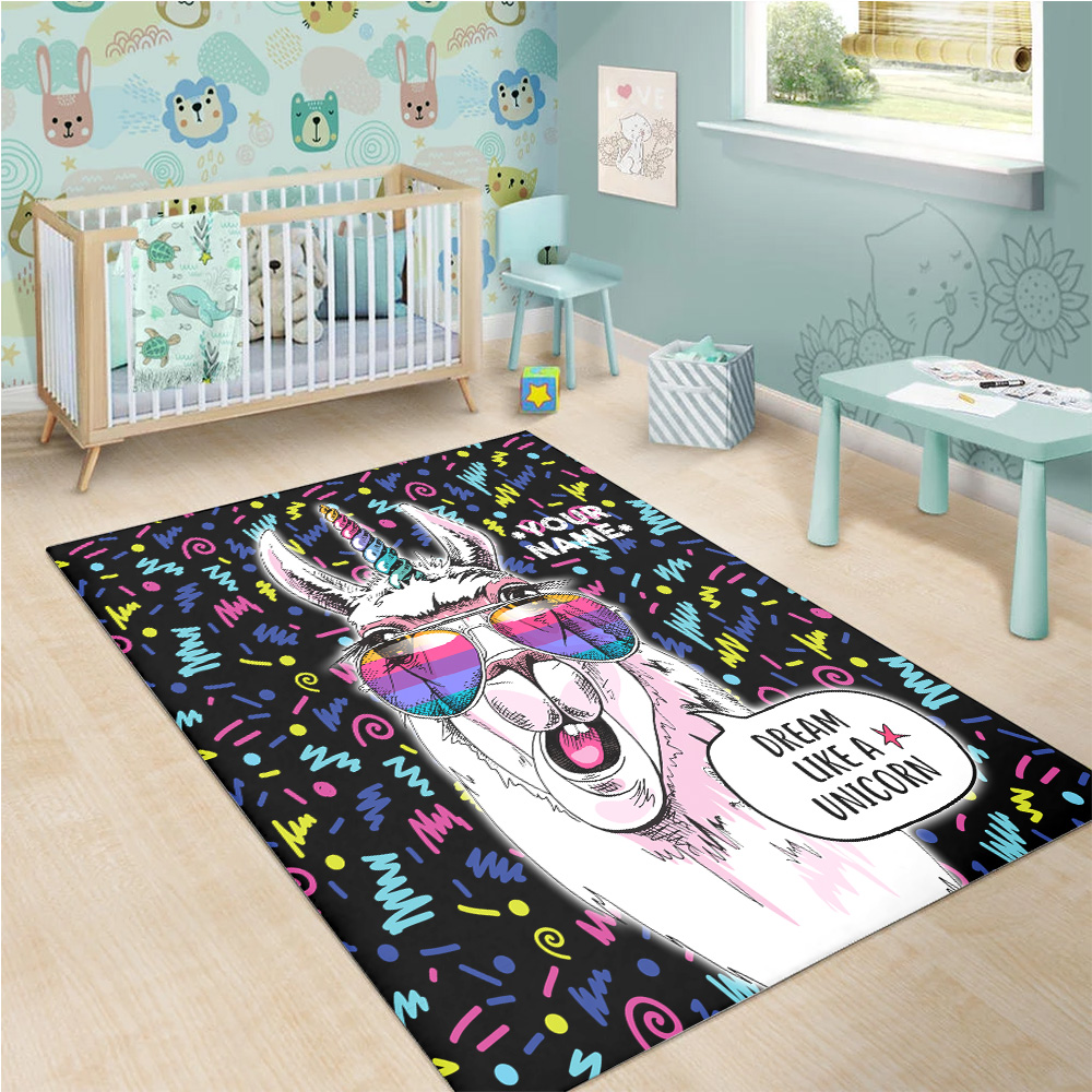 Personalized Floor Area Rugs Dream Like A Unicorn Pattern 2 Indoor Home Decor Carpets Suitable For Children Living Room Bedroom Birthday Christmas Aniversary