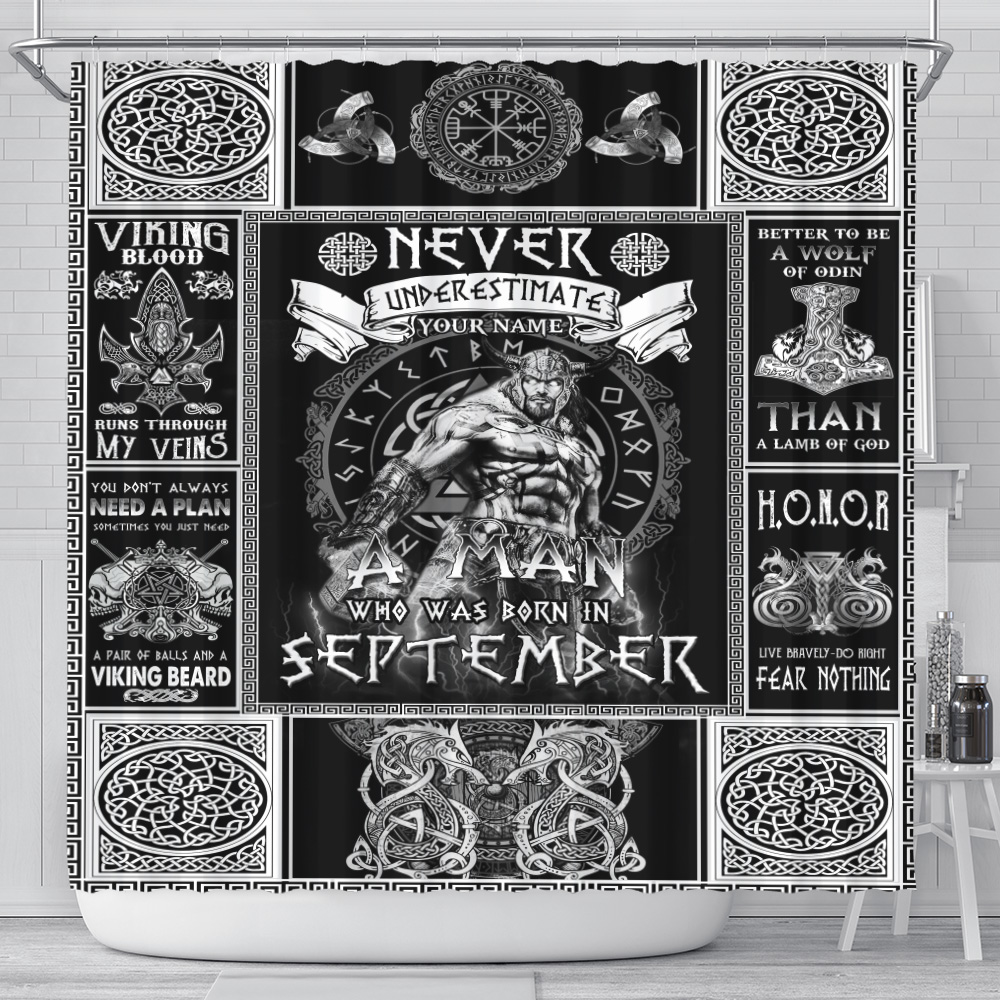 Personalized Shower Curtain Never Underestimate A Man Who Was Born In September Pattern 1 Set 12 Hooks Decorative Bath Modern Bathroom Accessories Machine Washable