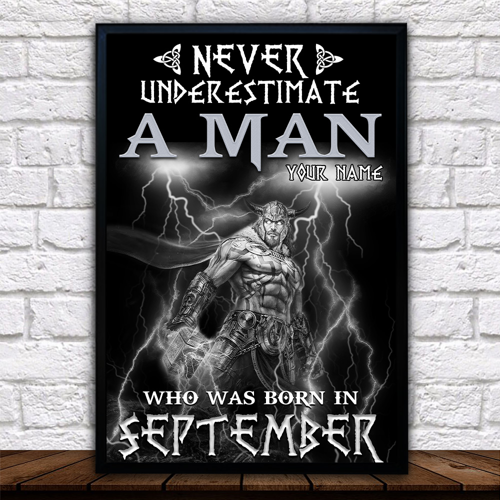 Personalized Wall Art Poster Never Underestimate A Man Who Was Born In September Pattern 1 Prints Decoracion Wall Art Picture Living Room Wall