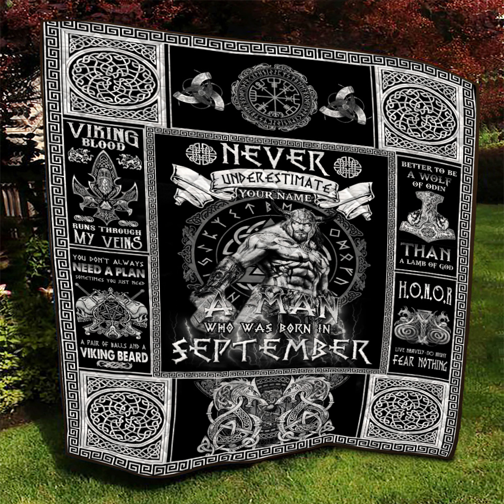 Personalized Quilt Throw Blanket Never Underestimate A Man Who Was Born In September Pattern 1 Lightweight Super Soft Cozy For Decorative Couch Sofa Bed