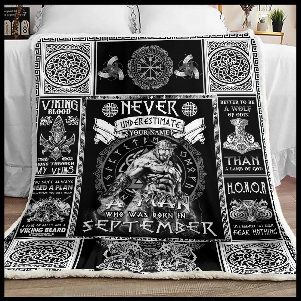 Personalized Fleece Throw Blanket Never Underestimate A Man Who Was Born In September Pattern 1 Lightweight Super Soft Cozy For Decorative Couch Sofa Bed