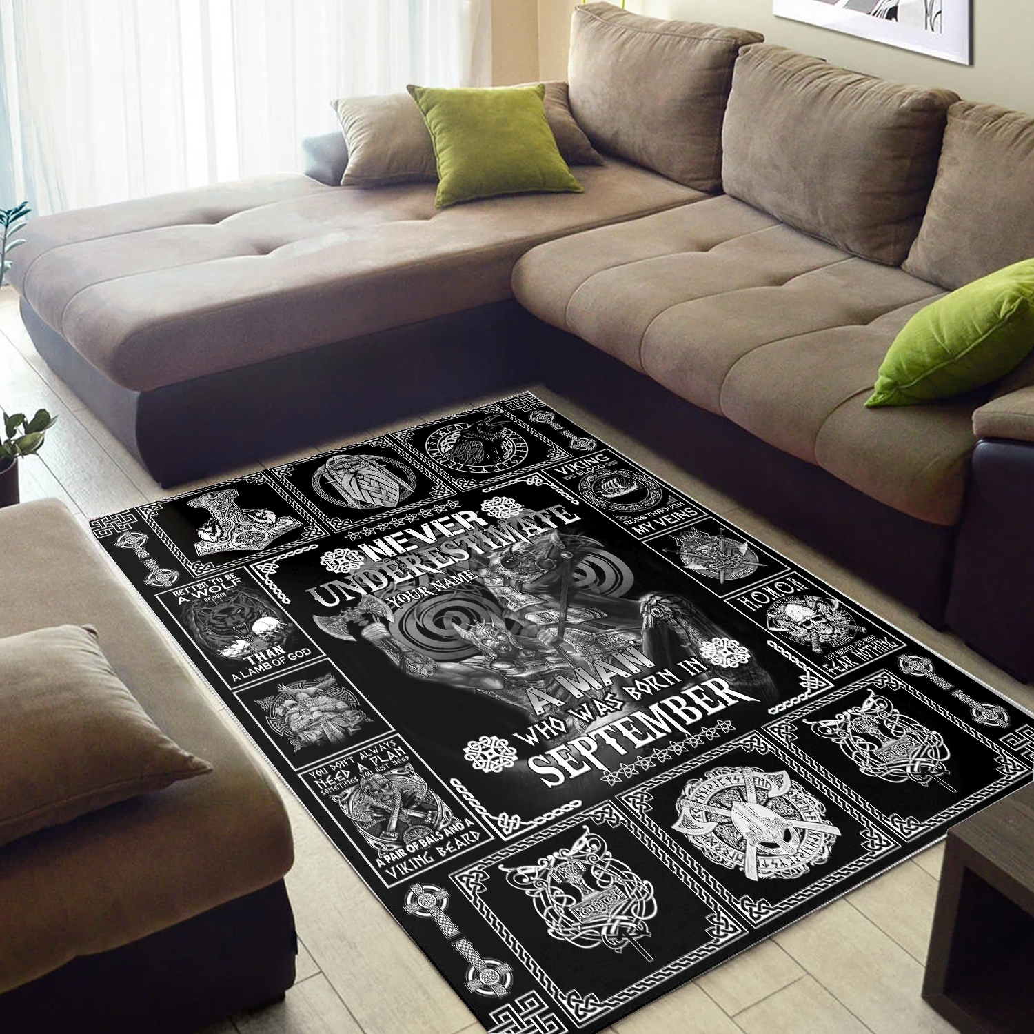 Personalized Never Underestimate A Man Who Was Born In September Pattern 2 Vintage Area Rug Anti-Skid Floor Carpet For Living Room Dinning Room Bedroom Office