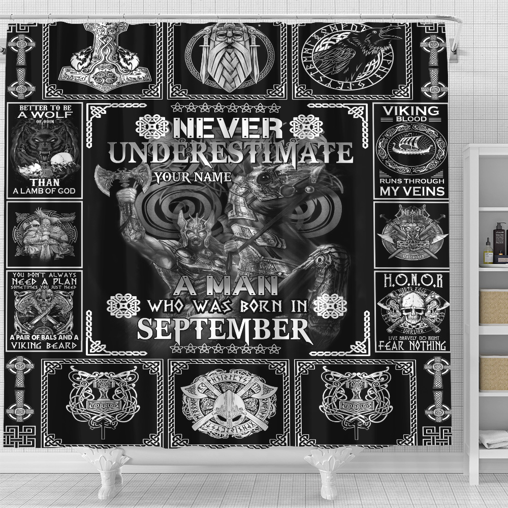 Personalized Shower Curtain Never Underestimate A Man Who Was Born In September Pattern 2 Set 12 Hooks Decorative Bath Modern Bathroom Accessories Machine Washable