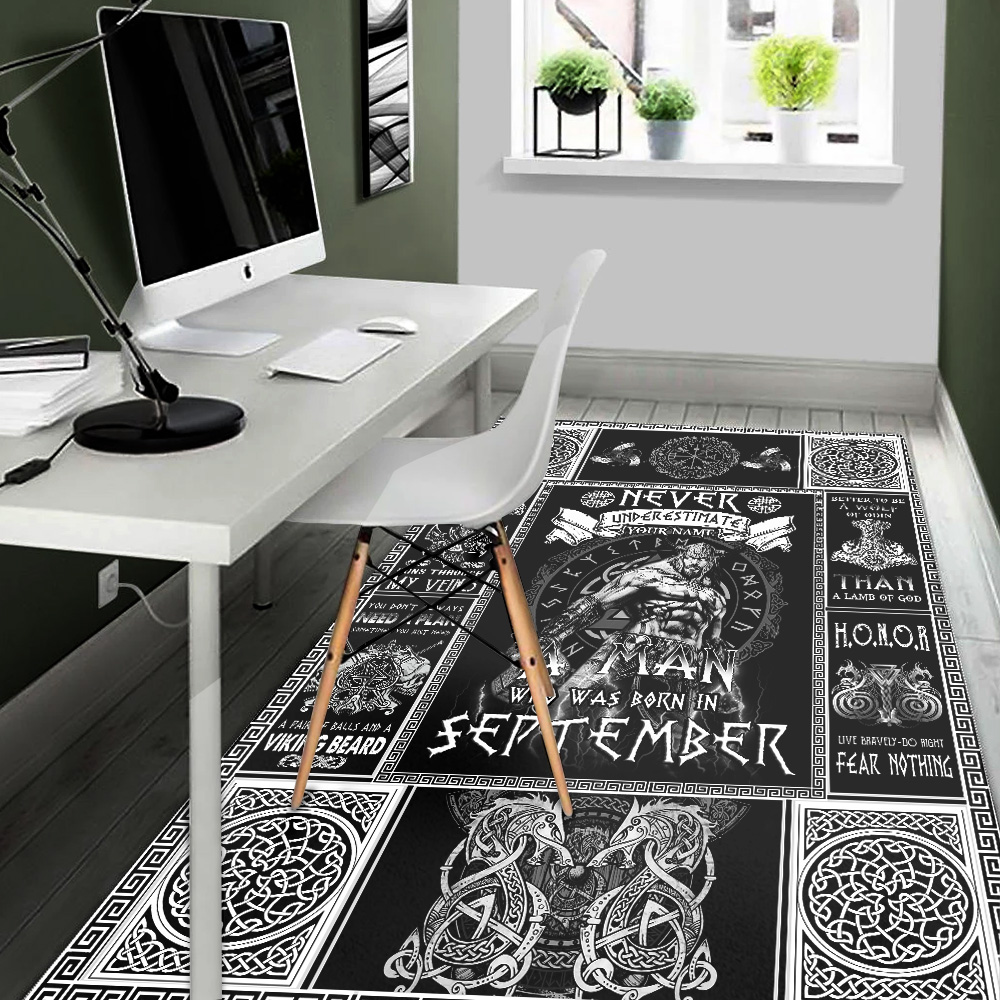 Personalized Never Underestimate A Man Who Was Born In September Pattern 1 Vintage Area Rug Anti-Skid Floor Carpet For Living Room Dinning Room Bedroom Office