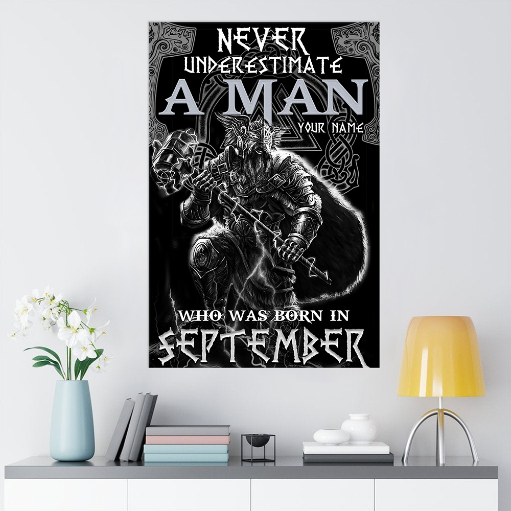 Personalized Wall Art Poster Never Underestimate A Man Who Was Born In September Pattern 2 Prints Decoracion Wall Art Picture Living Room Wall