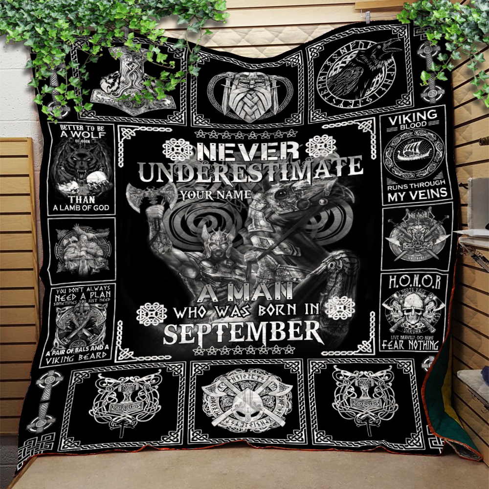 Personalized Quilt Throw Blanket Never Underestimate A Man Who Was Born In September Pattern 2 Lightweight Super Soft Cozy For Decorative Couch Sofa Bed