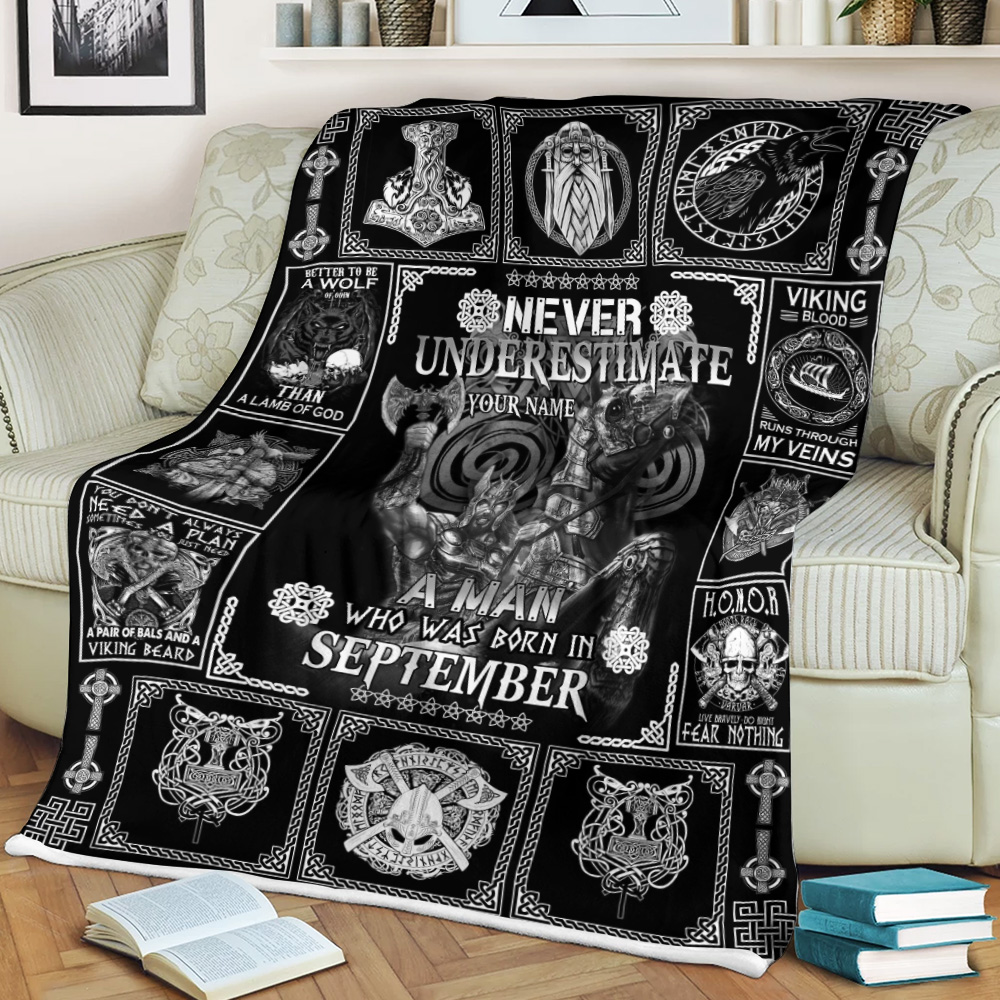Personalized Fleece Throw Blanket Never Underestimate A Man Who Was Born In September Pattern 2 Lightweight Super Soft Cozy For Decorative Couch Sofa Bed