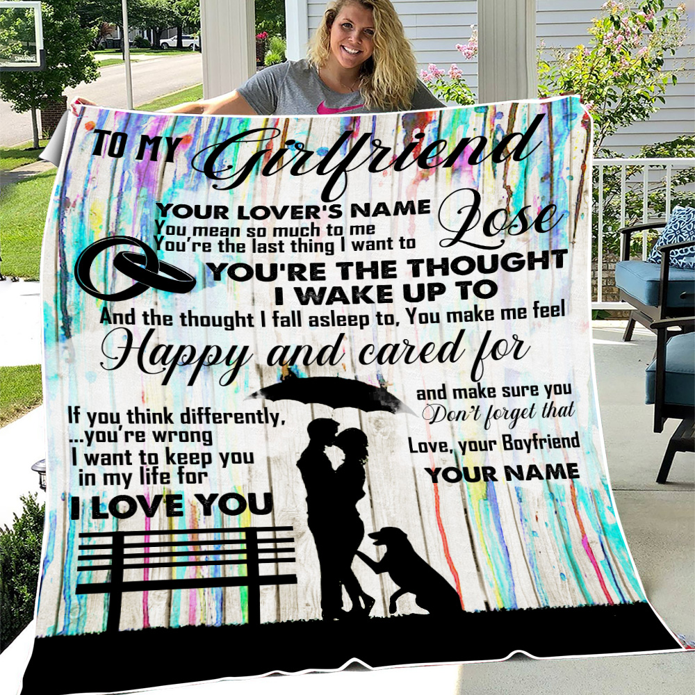 Personalized Lovely Fleece Throw Blanket To My Girlfriend I Want To Keep You In My Life For I Love You  Pattern 1 Lightweight Super Soft Cozy For Decorative Couch Sofa Bed