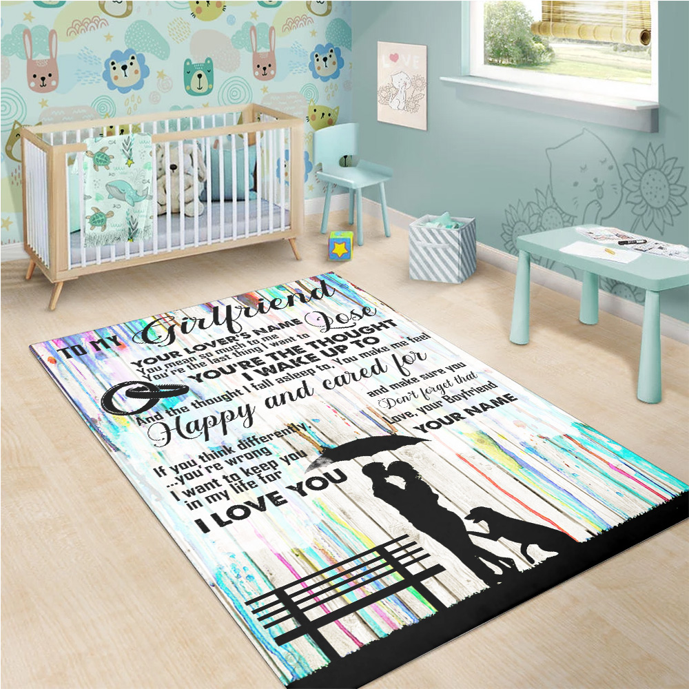 Personalized Lovely To My Girlfriend I Want To Keep You In My Life For I Love You  Pattern 1 Vintage Area Rug Anti-Skid Floor Carpet For Living Room Dinning Room Bedroom Office