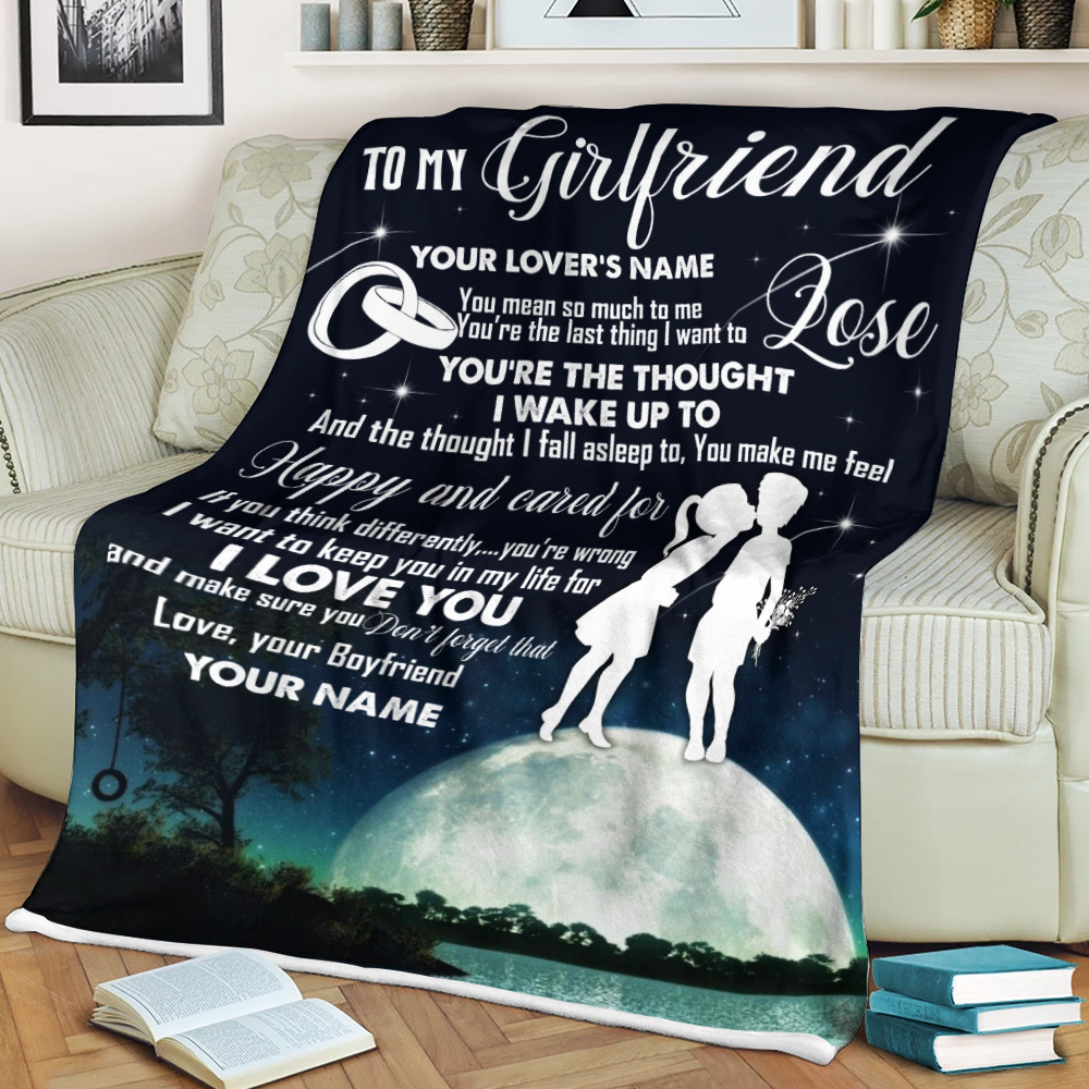 Personalized Lovely Fleece Throw Blanket To My Girlfriend I Want To Keep You In My Life For I Love You Pattern 2 Lightweight Super Soft Cozy For Decorative Couch Sofa Bed