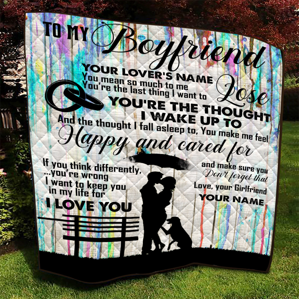 Personalized Lovely Quilt Throw Blanket To My Boyfriend I Want To Keep You In My Life For I Love You Pattern1 Lightweight Super Soft Cozy For Decorative Couch Sofa Bed