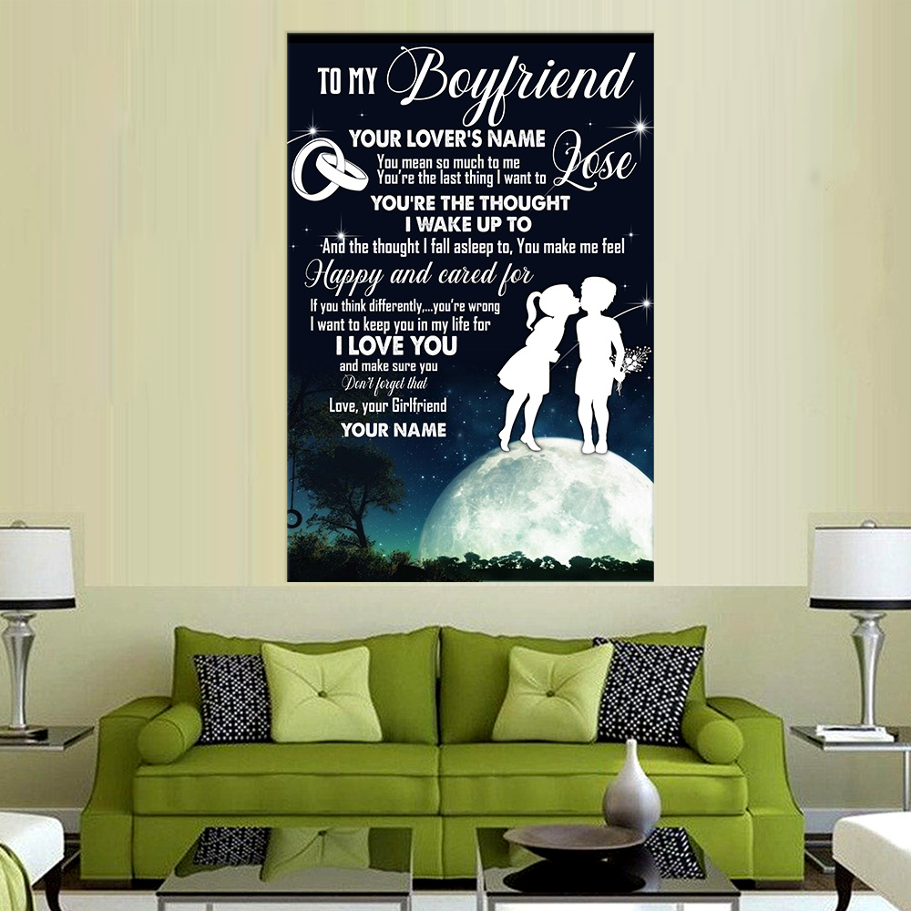 Personalized Lovely Wall Art Poster To My Boyfriend I Want To Keep You In My Life For I Love You Pattern 2 Prints Decoracion Wall Art Picture Living Room Wall