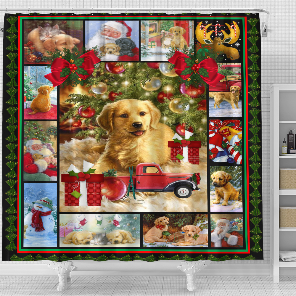 Personalized Shower Curtain 71 X 71 Inch Merry Christmas Golden Retriever Pattern 1 Set 12 Hooks Decorative Bath Modern Bathroom Accessories Machine Washable