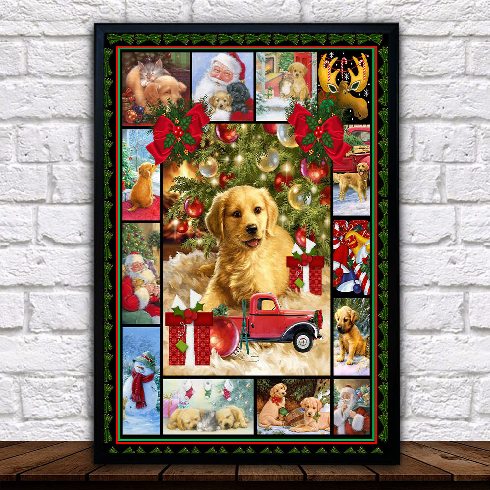 Personalized Wall Art Poster Canvas 1 Panel Merry Christmas Golden Retriever  Pattern 1 Great Idea For Living Home Decorations Birthday Christmas Aniversary