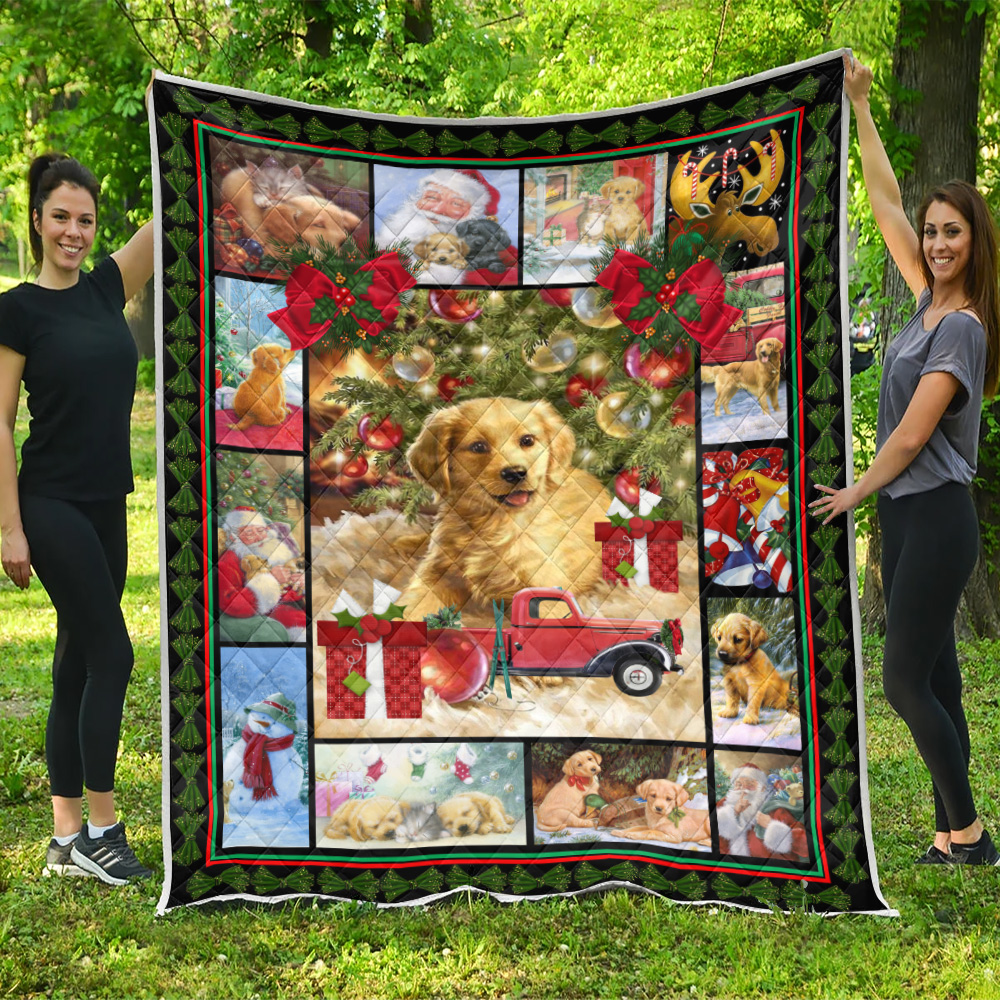 Personalized Quilt Throw Blanket Merry Christmas Golden Retriever  Pattern 1 Lightweight Super Soft Cozy For Decorative Couch Sofa Bed