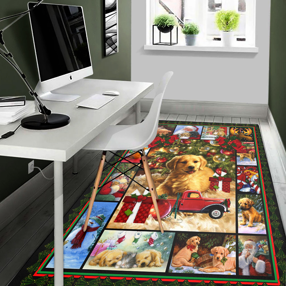 Personalized Floor Area Rugs Merry Christmas Golden Retriever  Pattern 1 Indoor Home Decor Carpets Suitable For Children Living Room Bedroom Birthday Christmas Aniversary