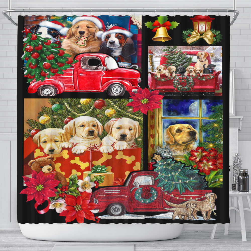 Personalized Shower Curtain 71 X 71 Inch Merry Christmas Golden Retriever  Pattern 2 Set 12 Hooks Decorative Bath Modern Bathroom Accessories Machine Washable