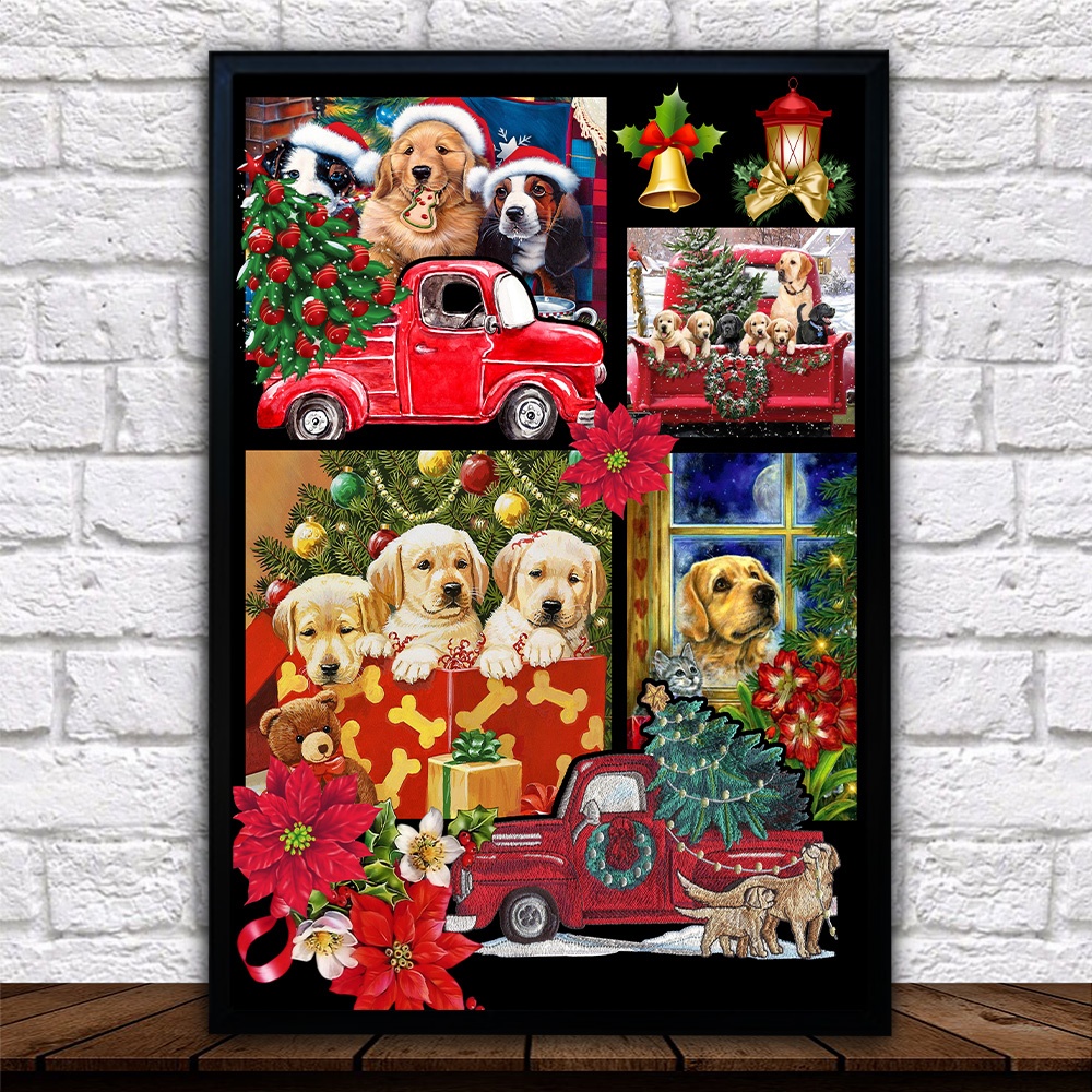 Personalized Wall Art Poster Canvas 1 Panel Merry Christmas Golden Retriever   Pattern 2 Great Idea For Living Home Decorations Birthday Christmas Aniversary