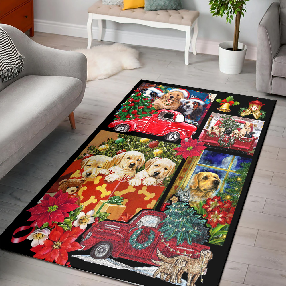Personalized Floor Area Rugs Merry Christmas Golden Retriever  Pattern 2 Indoor Home Decor Carpets Suitable For Children Living Room Bedroom Birthday Christmas Aniversary