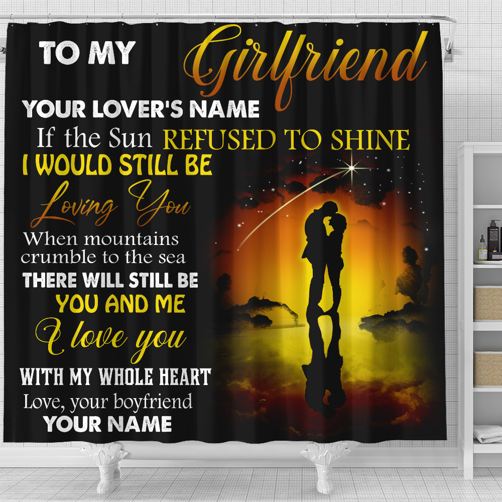 Personalized Lovely Shower Curtain To My Girlfriend I Love You With My Whole Heart Pattern 1  Set 12 Hooks Decorative Bath Modern Bathroom Accessories Machine Washable