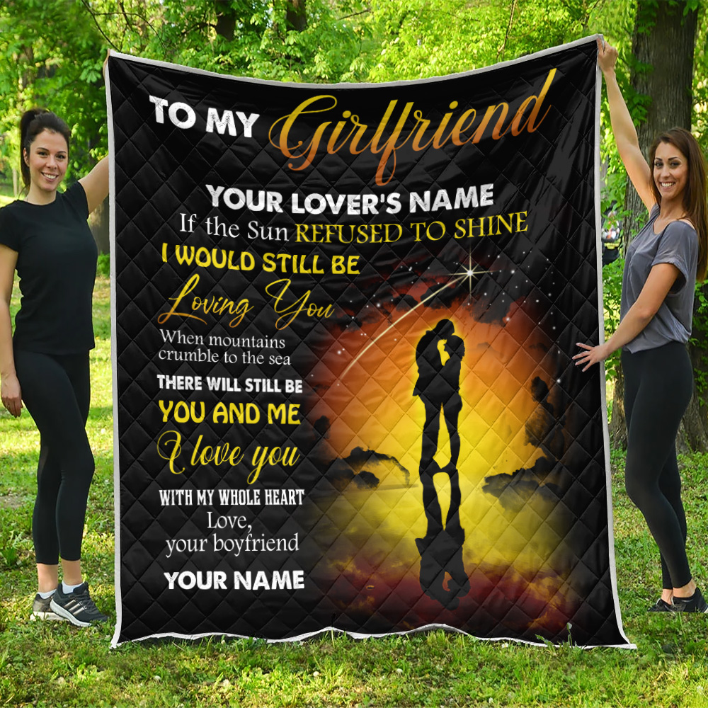 Personalized Lovely Quilt Throw Blanket To My Girlfriend I Love You With My Whole Heart Pattern 1  Lightweight Super Soft Cozy For Decorative Couch Sofa Bed