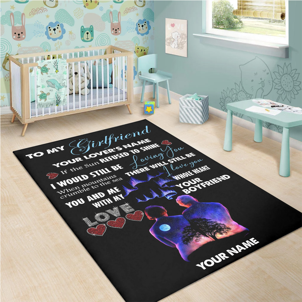 Personalized Lovely To My Girlfriend I Love You With My Whole Heart Pattern2 Vintage Area Rug Anti-Skid Floor Carpet For Living Room Dinning Room Bedroom Office