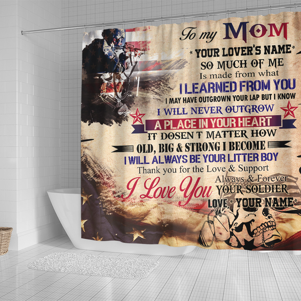 Personalized Shower Curtain 71 X 71 Inch To My Mom I Love You Always And Forever Your Soldier Pattern 2 Set 12 Hooks Decorative Bath Modern Bathroom Accessories Machine Washable