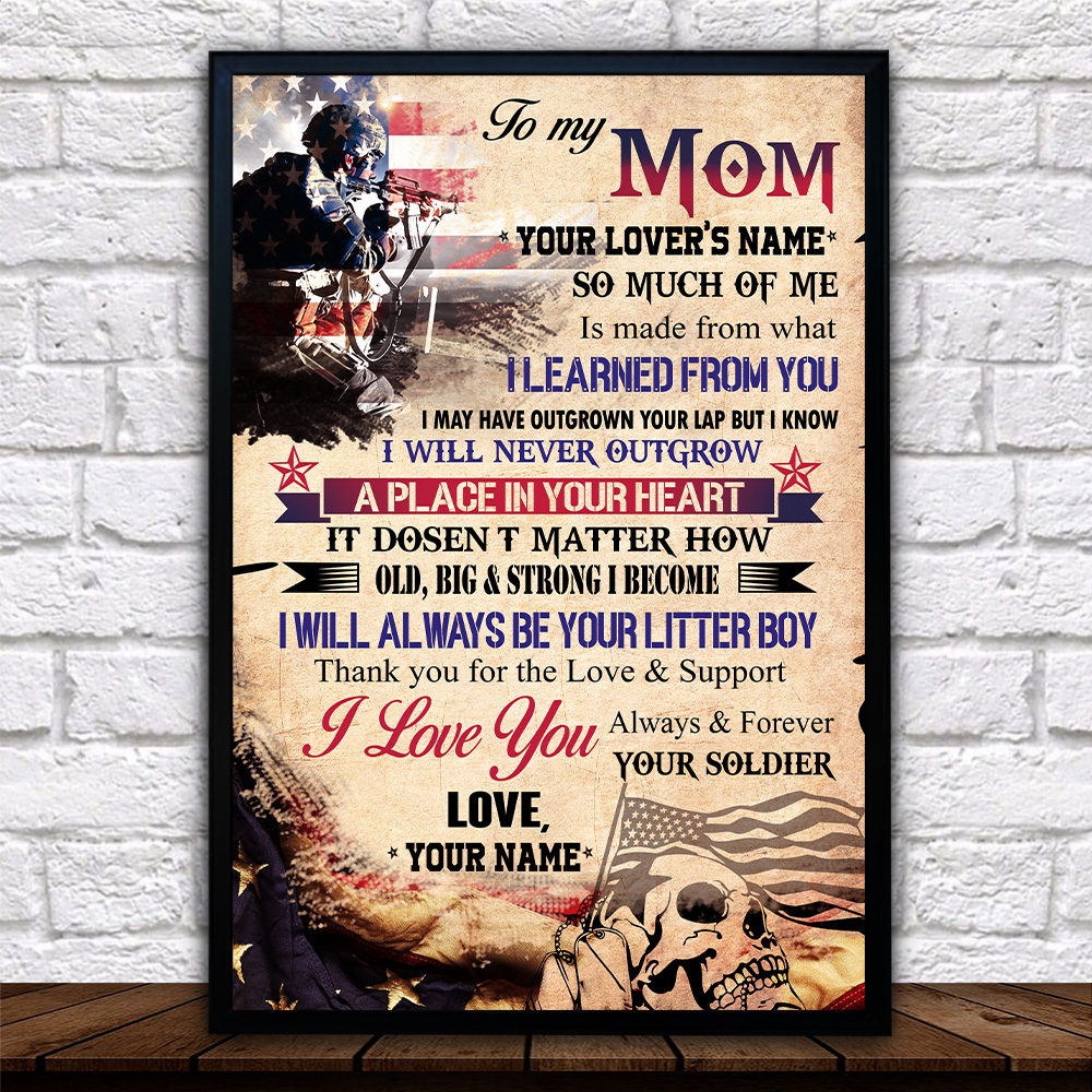 Personalized Wall Art Poster Canvas 1 Panel To My Mom I Love You Always And Forever Your Soldier Pattern 2 Great Idea For Living Home Decorations Birthday Christmas Aniversary