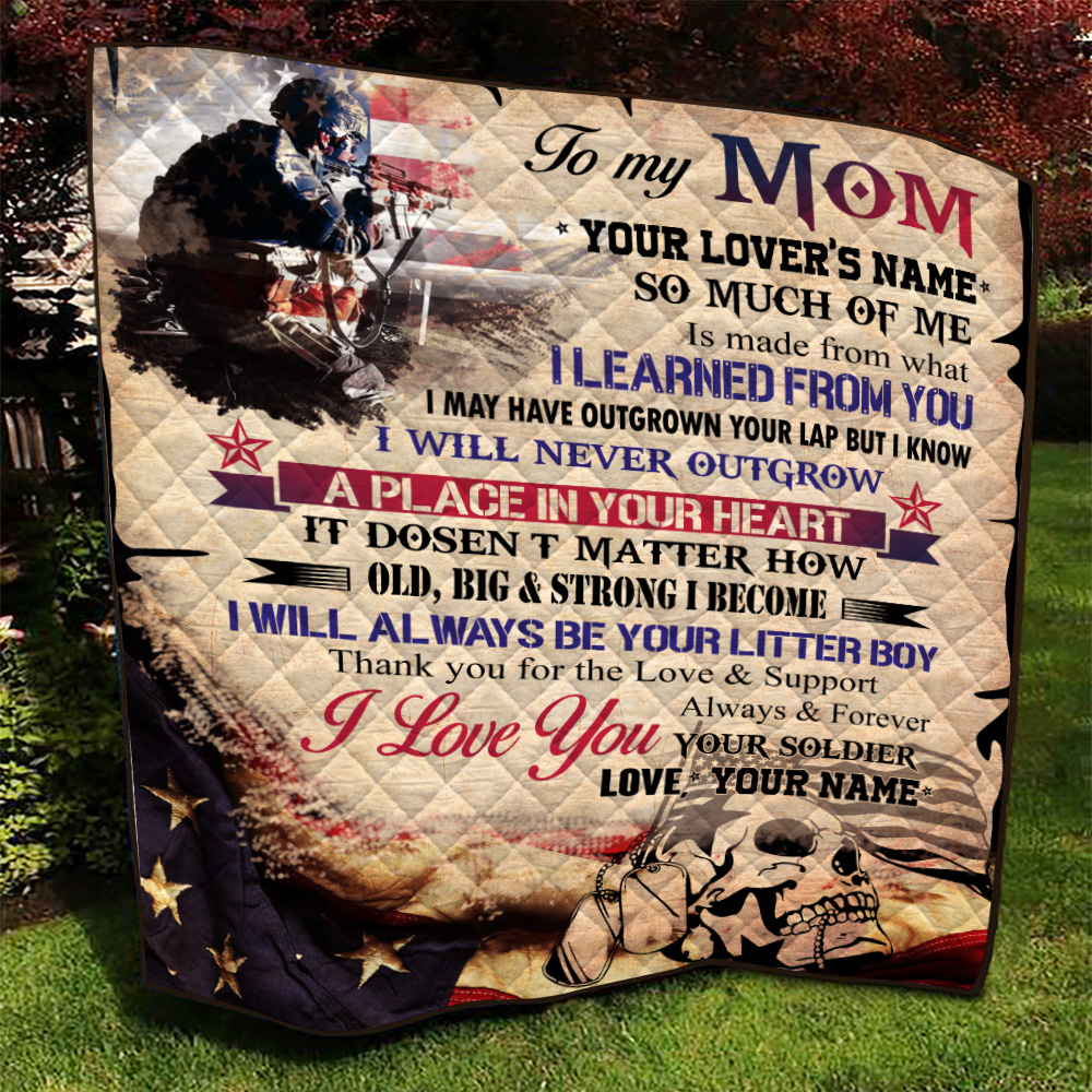 Personalized Quilt Throw Blanket To My Mom I Love You Always And Forever Your Soldier Pattern 2 Lightweight Super Soft Cozy For Decorative Couch Sofa Bed