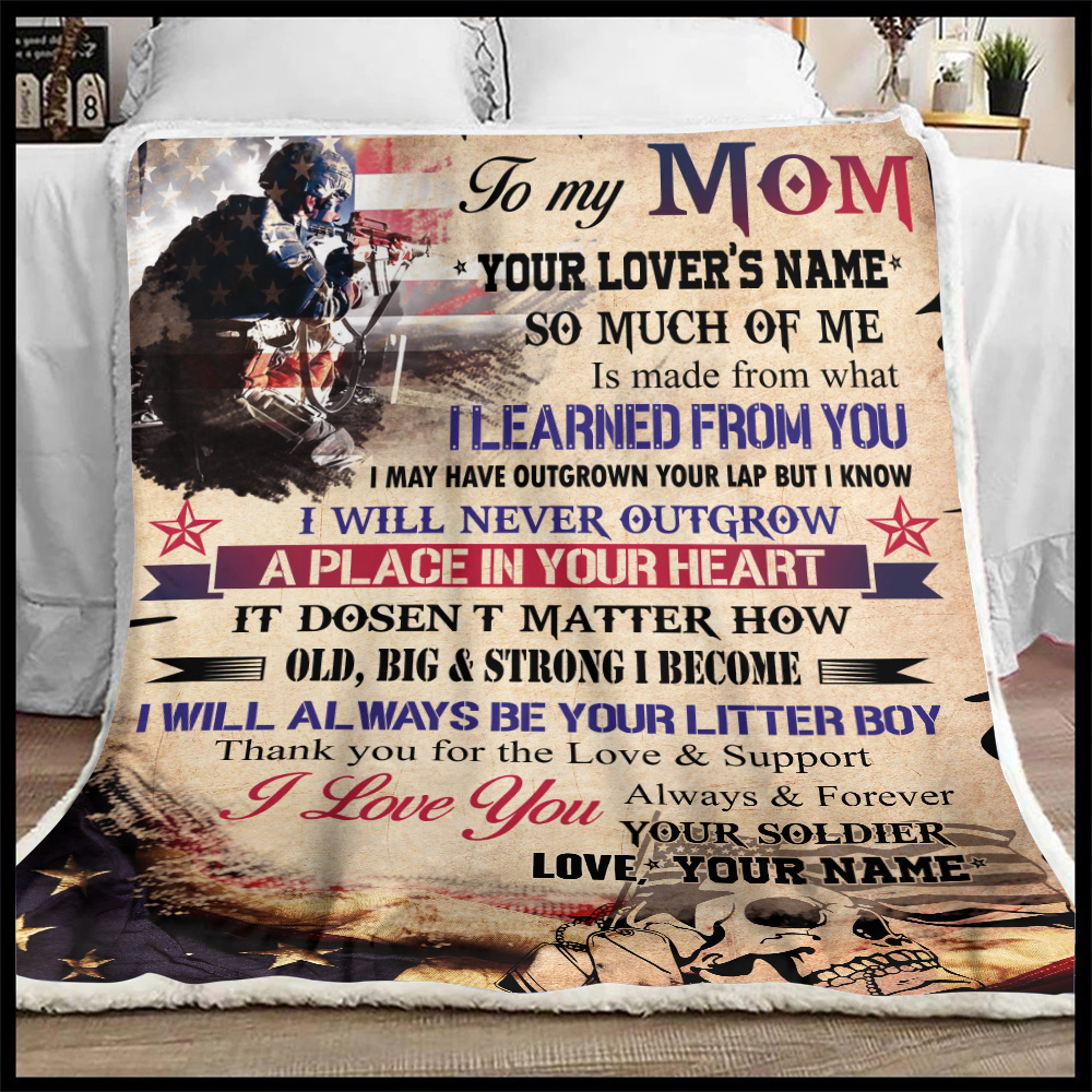 Personalized Fleece Throw Blanket To My Mom I Love You Always And Forever Your Soldier Pattern 2 Lightweight Super Soft Cozy For Decorative Couch Sofa Bed