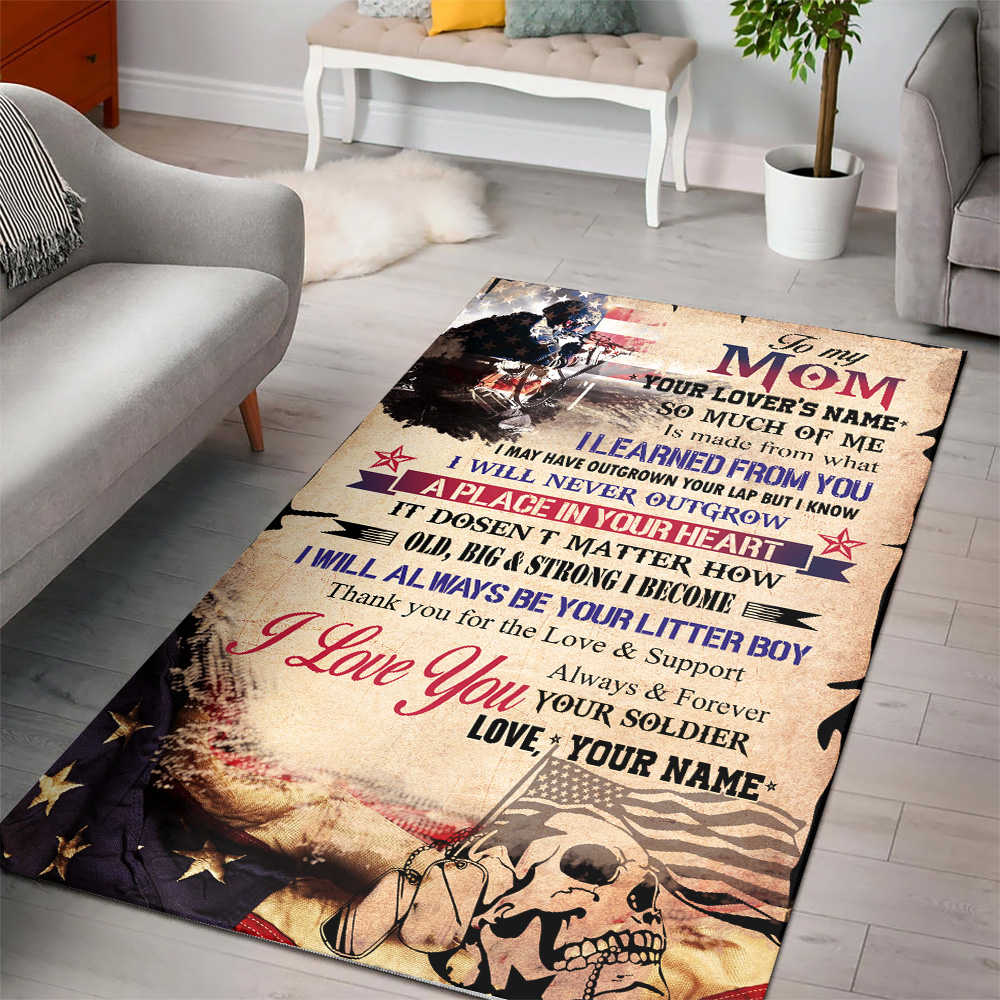 Personalized Floor Area Rugs To My Mom I Love You Always And Forever Your Soldier Pattern 2 Indoor Home Decor Carpets Suitable For Children Living Room Bedroom Birthday Christmas Aniversary