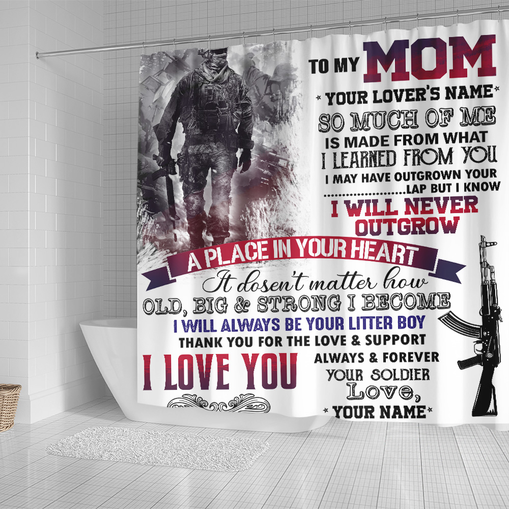 Personalized Shower Curtain 71 X 71 Inch To My Mom I Love You Always And Forever Your Soldier Pattern 1 Set 12 Hooks Decorative Bath Modern Bathroom Accessories Machine Washable