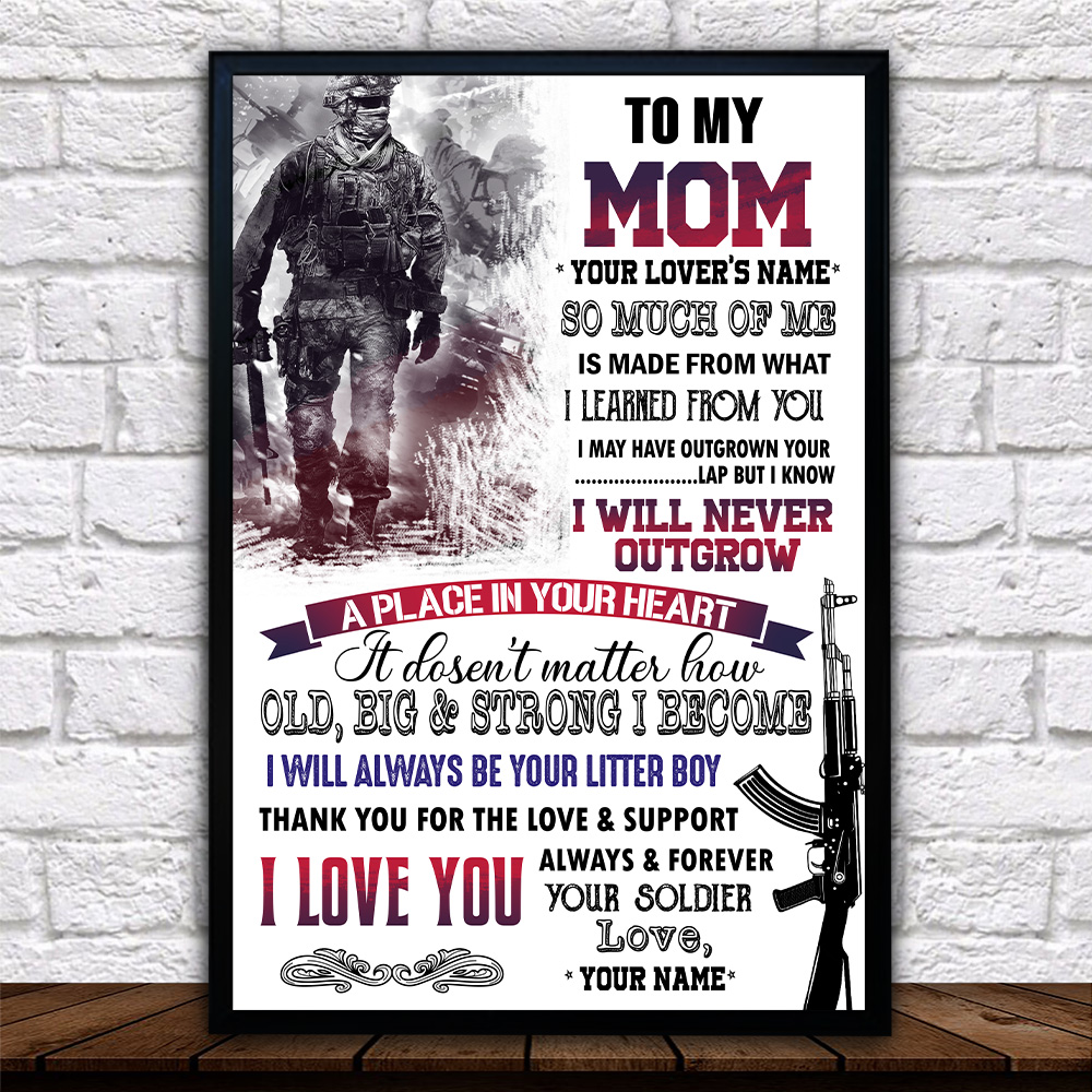 Personalized Wall Art Poster Canvas 1 Panel To My Mom I Love You Always And Forever Your Soldier Pattern 1 Great Idea For Living Home Decorations Birthday Christmas Aniversary