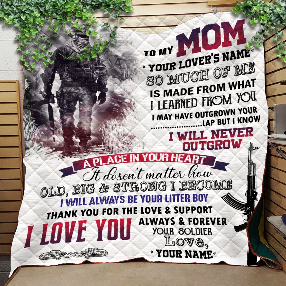 Personalized Quilt Throw Blanket To My Mom I Love You Always And Forever Your Soldier Pattern 1 Lightweight Super Soft Cozy For Decorative Couch Sofa Bed
