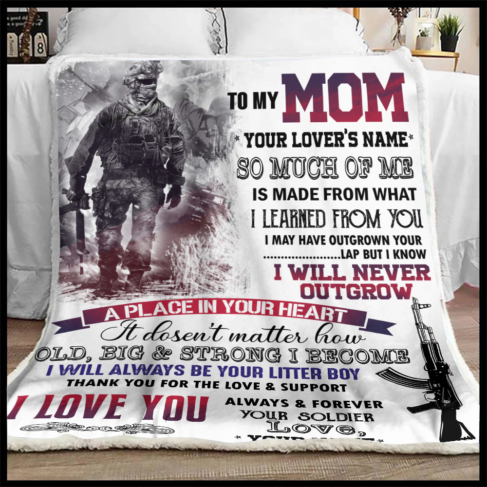 Personalized Fleece Throw Blanket To My Mom I Love You Always And Forever Your Soldier Pattern 1 Lightweight Super Soft Cozy For Decorative Couch Sofa Bed