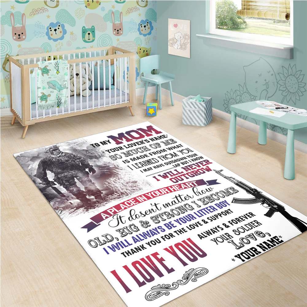 Personalized Floor Area Rugs To My Mom I Love You Always And Forever Your Soldier Pattern 1 Indoor Home Decor Carpets Suitable For Children Living Room Bedroom Birthday Christmas Aniversary