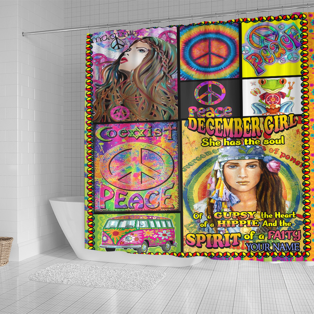 Personalized Shower Curtain December Girl She Has The Soul Of A Gypsy Pattern 1 Set 12 Hooks Decorative Bath Modern Bathroom Accessories Machine Washable