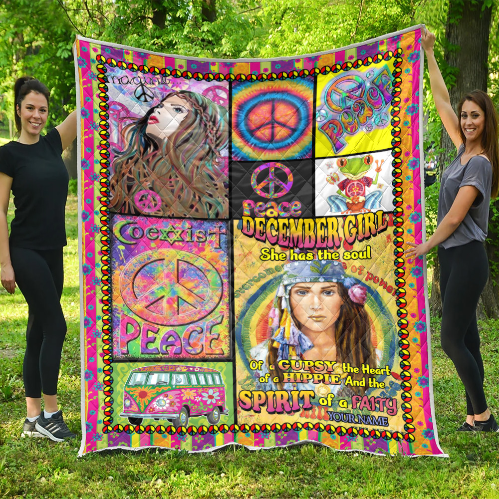 Personalized Quilt Throw Blanket December Girl She Has The Soul Of A Gypsy Pattern 1 Lightweight Super Soft Cozy For Decorative Couch Sofa Bed