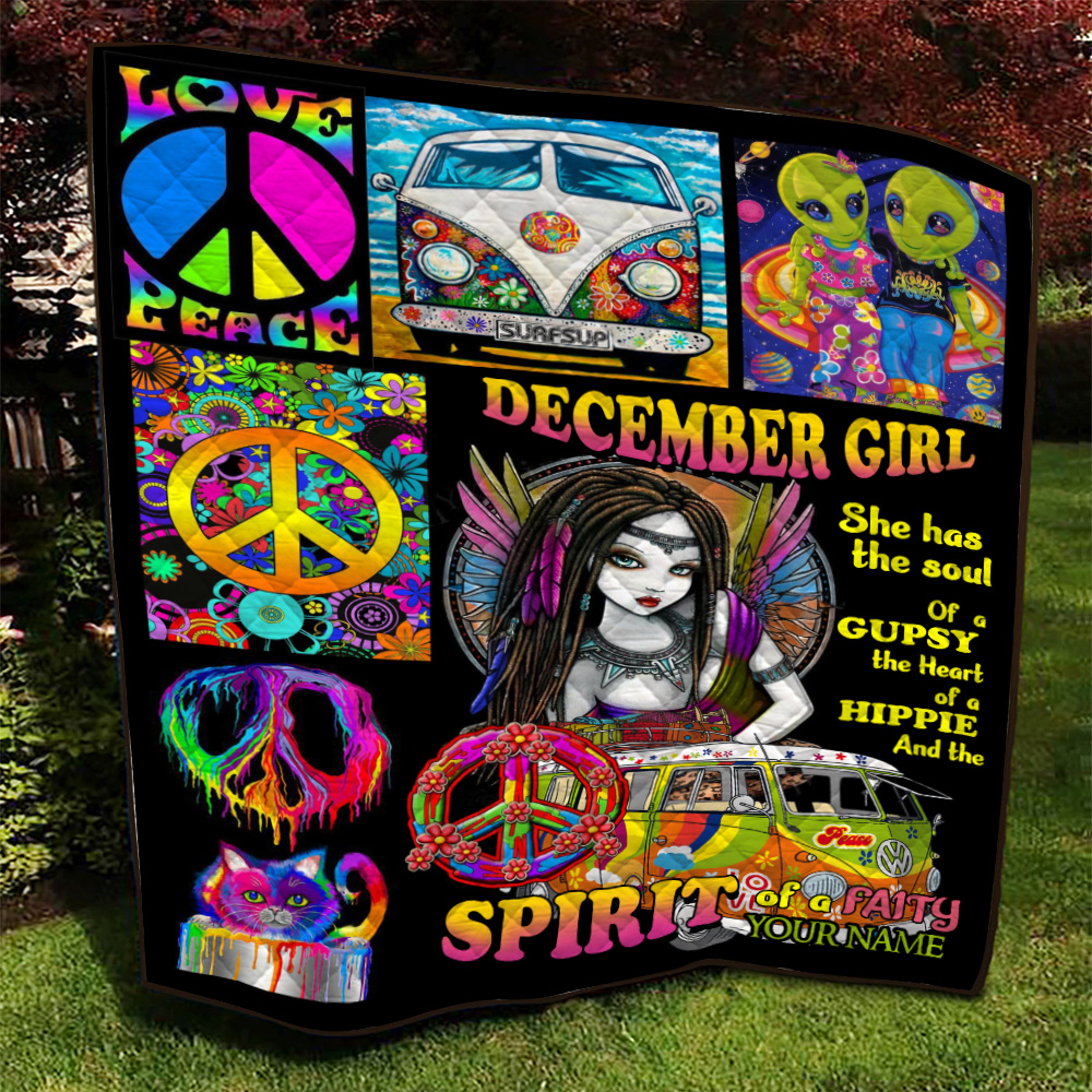 Personalized Quilt Throw Blanket December Girl She Has The Soul Of A Gypsy Pattern 2 Lightweight Super Soft Cozy For Decorative Couch Sofa Bed