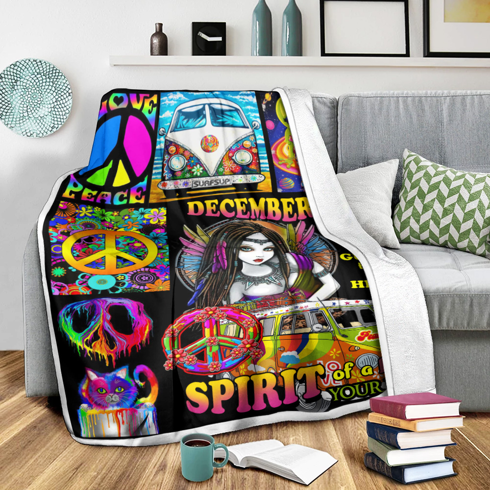 Personalized Fleece Throw Blanket December Girl She Has The Soul Of A Gypsy Pattern 2 Lightweight Super Soft Cozy For Decorative Couch Sofa Bed