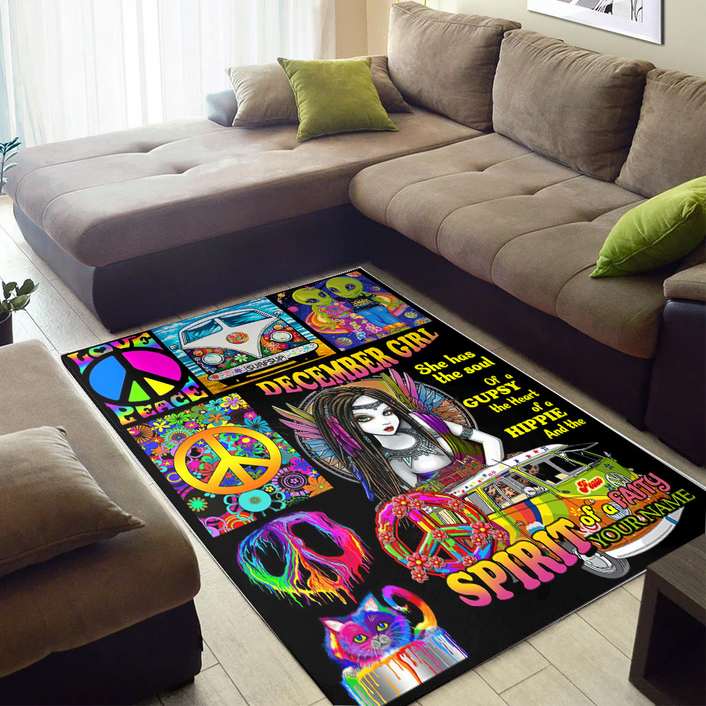 Personalized December Girl She Has The Soul Of A Gypsy Pattern 1 Vintage Area Rug Anti-Skid Floor Carpet For Living Room Dinning Room Bedroom Office