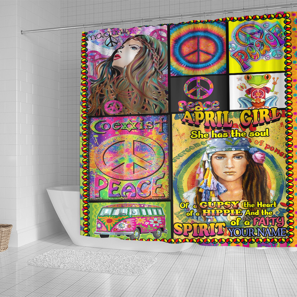 Personalized Shower Curtain April Girl She Has The Soul Of A Gypsy Pattern 1 Set 12 Hooks Decorative Bath Modern Bathroom Accessories Machine Washable