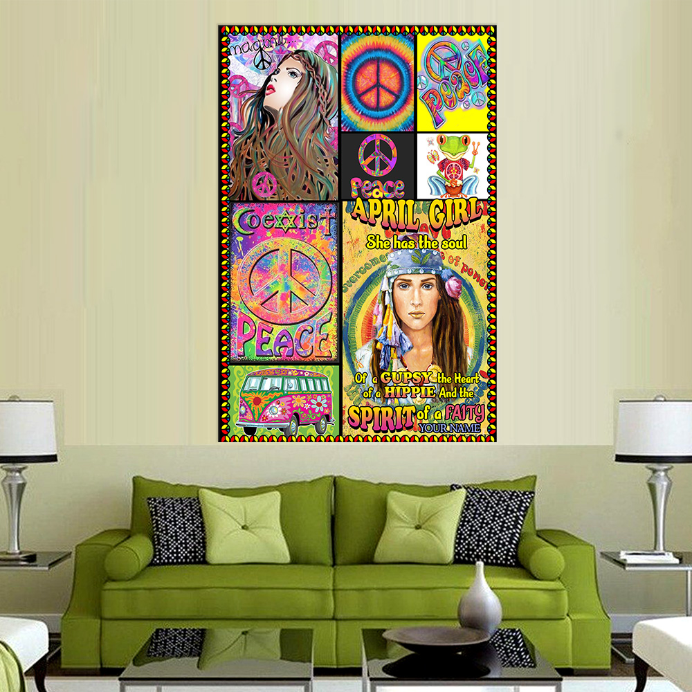 Personalized Wall Art Poster April Girl She Has The Soul Of A Gypsy Pattern 1 Prints Decoracion Wall Art Picture Living Room Wall