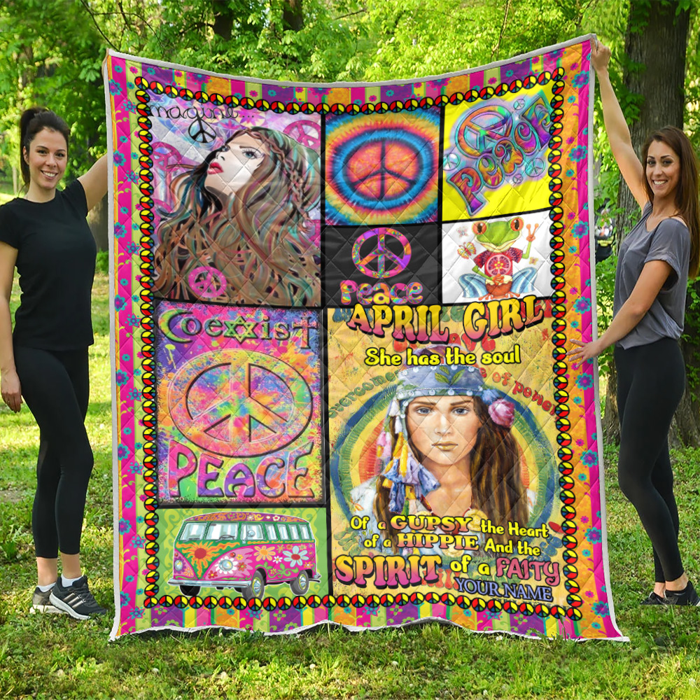 Personalized Quilt Throw Blanket April Girl She Has The Soul Of A Gypsy Pattern 1 Lightweight Super Soft Cozy For Decorative Couch Sofa Bed
