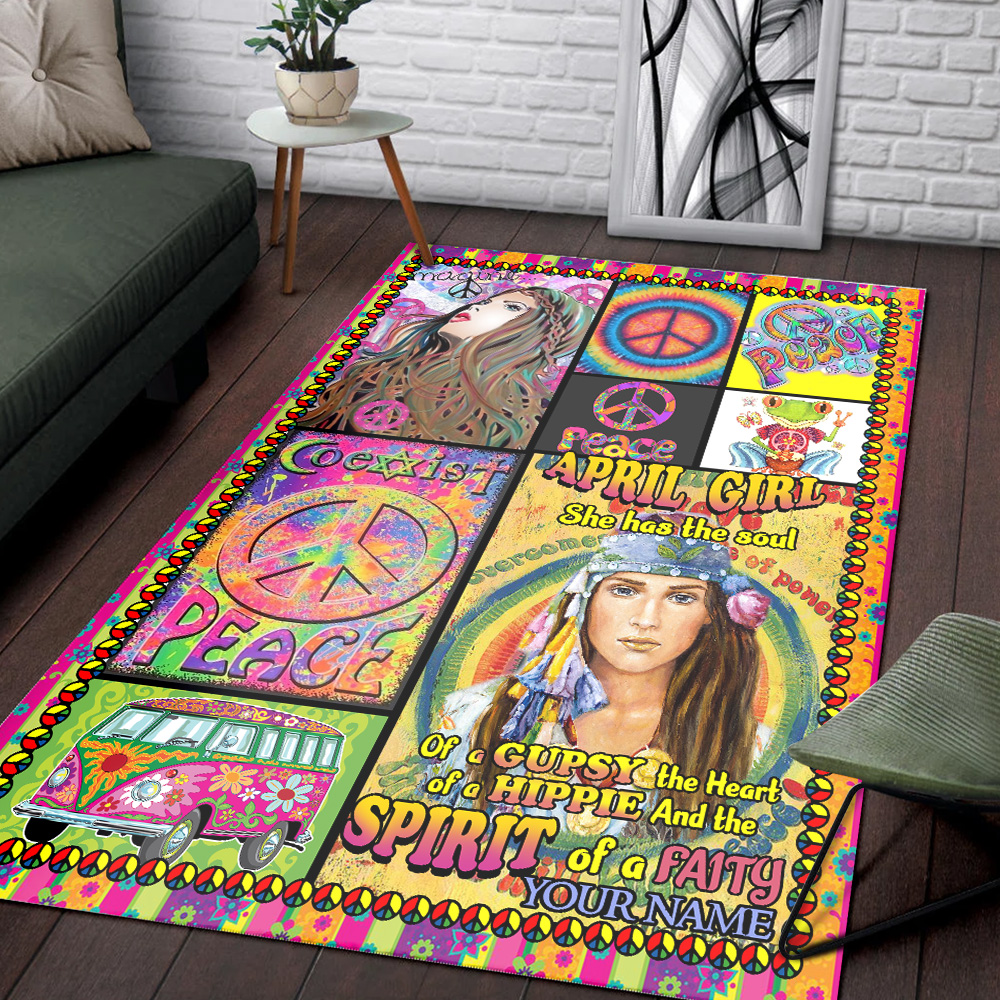 Personalized April Girl She Has The Soul Of A Gypsy Pattern 1 Vintage Area Rug Anti-Skid Floor Carpet For Living Room Dinning Room Bedroom Office