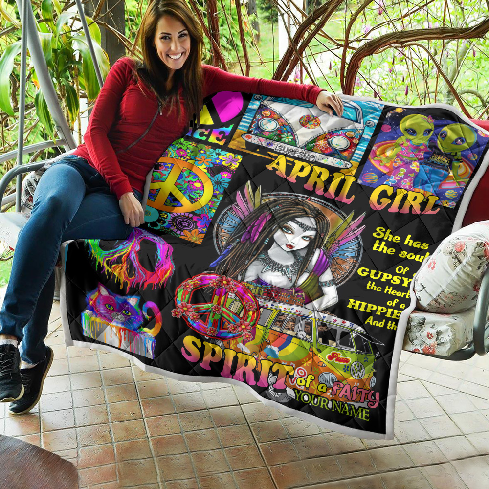 Personalized Quilt Throw Blanket April Girl She Has The Soul Of A Gypsy Pattern 2 Lightweight Super Soft Cozy For Decorative Couch Sofa Bed