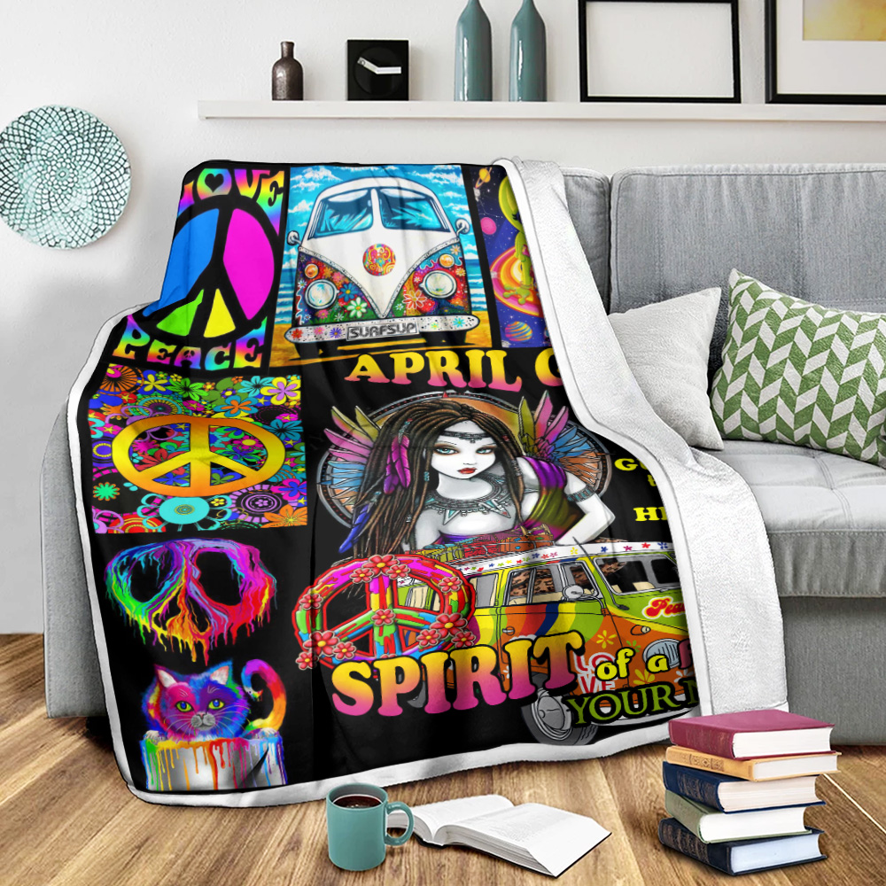 Personalized Fleece Throw Blanket April Girl She Has The Soul Of A Gypsy Pattern 2 Lightweight Super Soft Cozy For Decorative Couch Sofa Bed