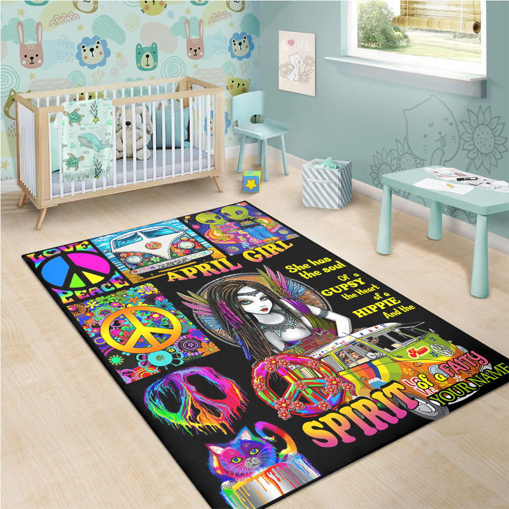 Personalized April Girl She Has The Soul Of A Gypsy Pattern 2 Vintage Area Rug Anti-Skid Floor Carpet For Living Room Dinning Room Bedroom Office