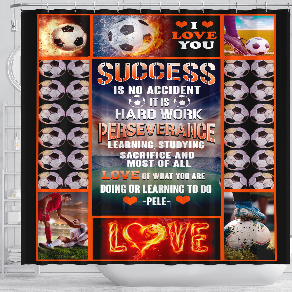 Personalized Shower Curtain 71 X 71 Inch Success Is No Accident Love Of What You Are Doing Or Learning To Do Set 12 Hooks Decorative Bath Modern Bathroom Accessories Machine Washable